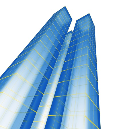 Abstract skyscraper Blue constructions on white Stock Photo - 8255088