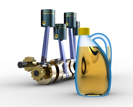 oil transportation: Mootor oil and the piston engine Stock Photo