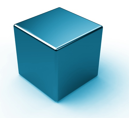 Blue metal cube photo