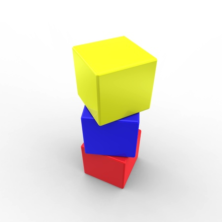 Three color cubes on white photo