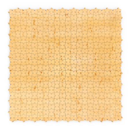 Wooden puzzle abstract yellow background photo