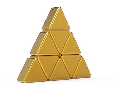 crystal button: Abstract triangle glass 3d icon Stock Photo
