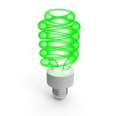 Fluorescent saving light bulb on white  background Stock Photo - 8345906