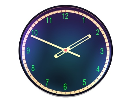 3d black clock  with gold hands on white photo