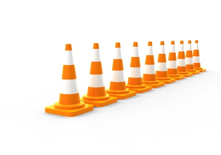 under control: Orange road cones on white Stock Photo