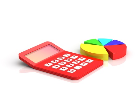 Business diagram and Red calculator