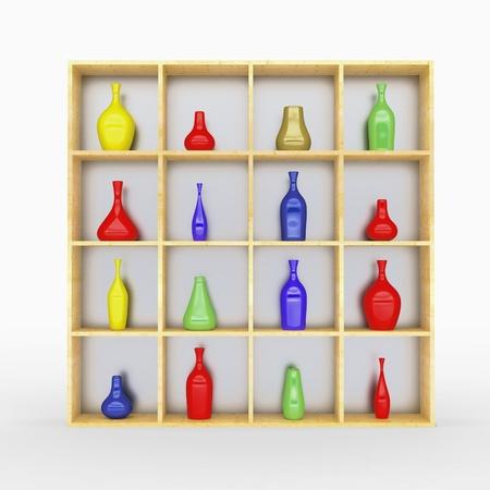 Set of coloor vase in wooden box photo