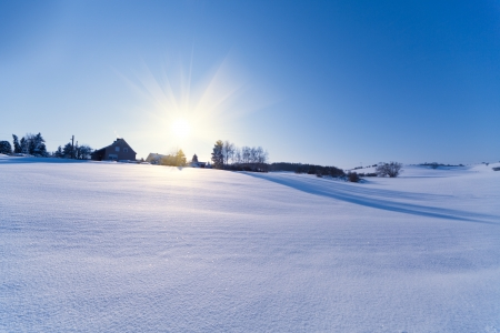 house field and sun in winter Stock Photo - 8345940