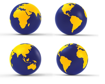 3d earth globe set on white