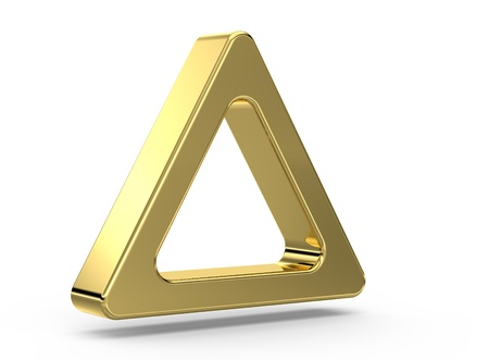 3d Gold triangle  on white photo