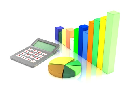 Business diagram and Red calculator Stock Photo - 8553602