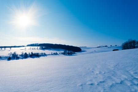 Snow in a winter field and the sun photo