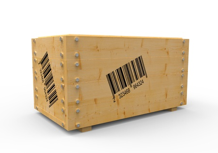packing boxes: 3d wooden box with barcode Stock Photo