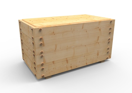 storage boxes: 3d wooden box on white