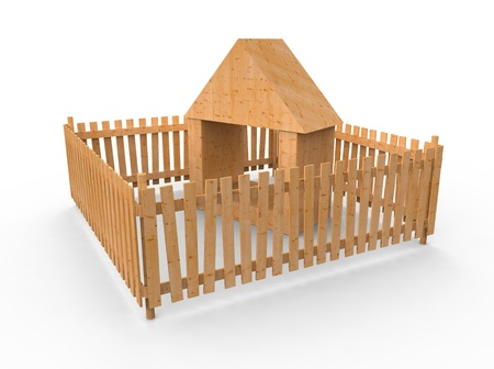Toy wooden small house behind a fence Stock Photo - 8564428