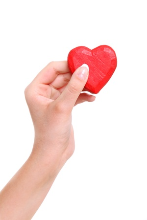 Heart from a wood in hands of the girl photo