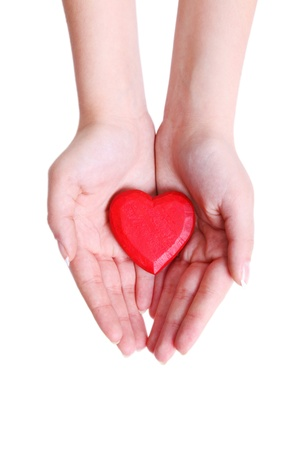 Heart from a wood in hands of the girl Stock Photo - 8564440