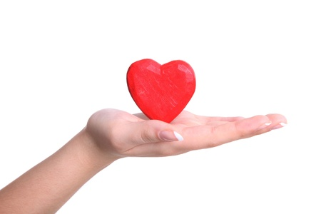 Heart from a wood in hands of the girl Stock Photo - 8564437
