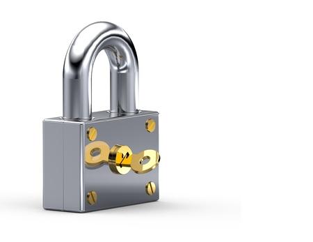 slot met sleuteltje: De metalen vergrendeling met gouden sleutel