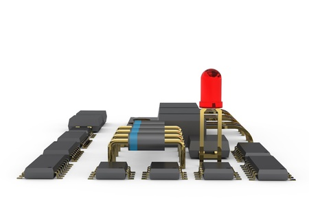 The electronic printed circuit board photo