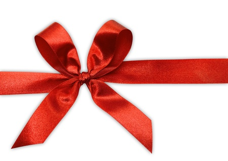 red tape: Red bow on a tape isolated on white.