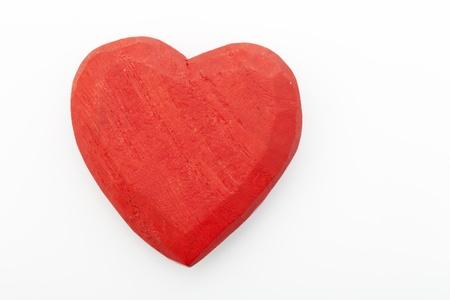 heart flower: wooden heart on white background