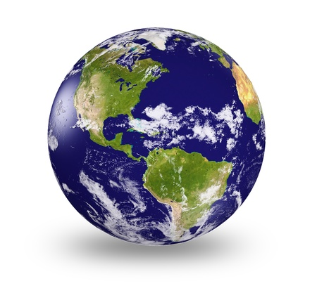 earth globe:  3d earth model with shaded relief and  clouds cover.