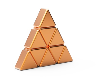 Concept of unique  gold  metal  triangle  Stock Photo - 8638976