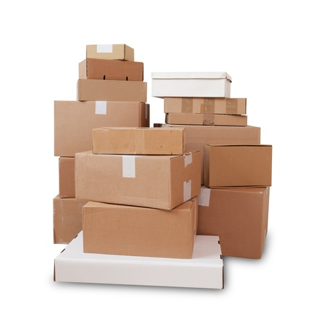 package: Piles of cardboard boxes on a white background Stock Photo