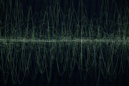 audiowave: sound or audio waves oscillating on black background