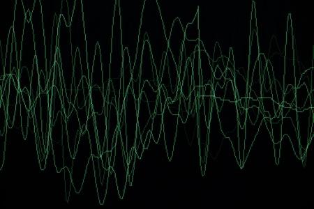 audiowave: sound or audio waves oscillating on black background