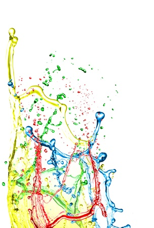 colorful paint: Color paint splashing on white  Stock Photo