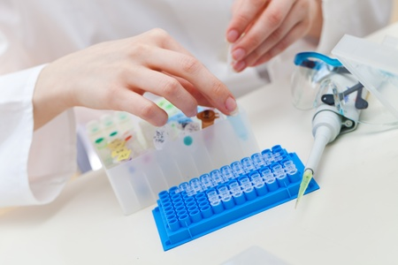 laboratory workplace for  DNA test photo