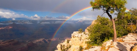 arc: rainbow on Grand Canyon panorama