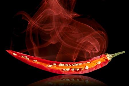 Hot Chili Pepper  on black background photo