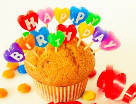 torta candeline: Buon Compleanno testo candela Archivio Fotografico