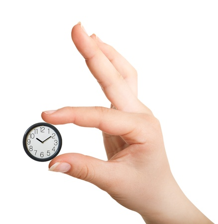 hour hand: Clock in palm isolated on white