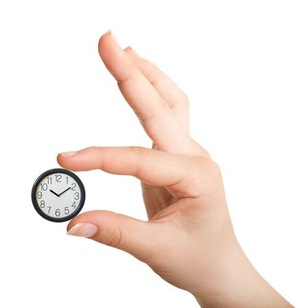 Reloj en palm aislado en blanco Foto de archivo - 9731807