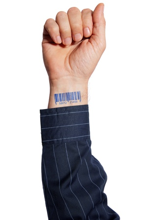 codebar: Barcode on human hand Stock Photo