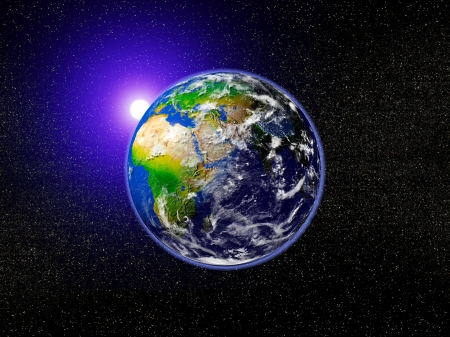 Real Earth Planet and sun photo