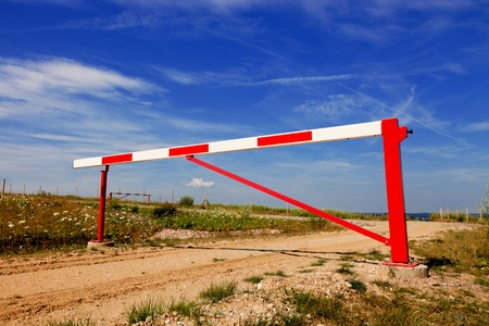 barrier gate: Gate barrier on Countryside railway crossing