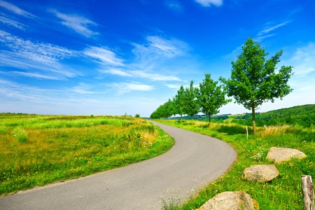 Road in green field and blue sky Stock Photo