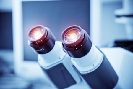microscope lens: Closeup eyepiece of microscope