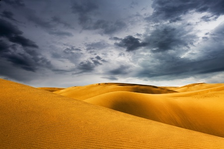 sahara: desert dune and storm sky Stock Photo