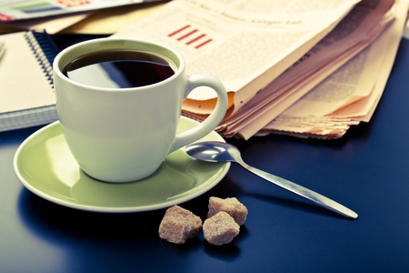 exceeds: Business morning, coffee and newspaper