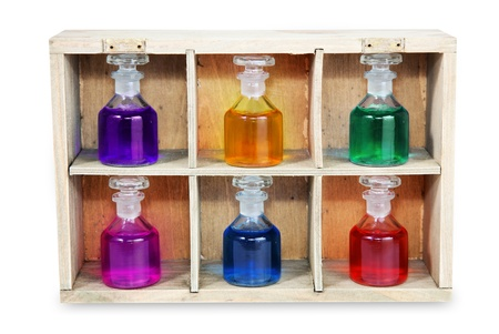 antiquarian: Color bottles in wooden box