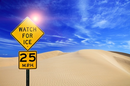 Road sign Watch for ice on desert landscape Stock Photo - 10953620