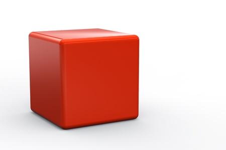 tessera: Red cube isolated on white background Stock Photo