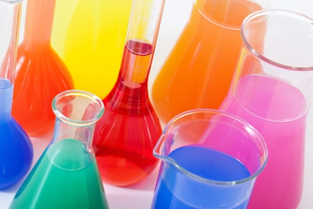 medical testing: Lab glass flask with color liquid