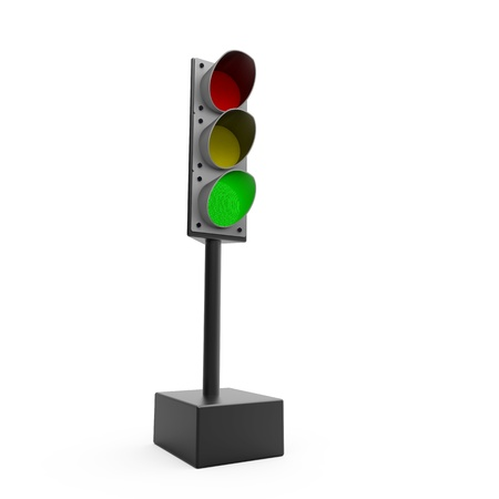 Traffic light on white  background photo